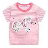 JinBei Camiseta Bebé Niña Manga Corta T-Shirts Algodon Rosa Raya Camisetas Elegante Verano Casual Tops Unicornio Lentejuelas Deporte Blusas Dibujos Chica Ropa Bordado Sudadera 2-3 Años