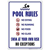 Pool Rules Sign, No Diving No Running No Food No Glass, 10x14 Rust Free Aluminum, Weather/...