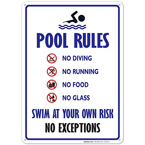 Aquatic Technology 30 x 30 Inches on Styrene Plastic Inc Pool Rules Style B Sign