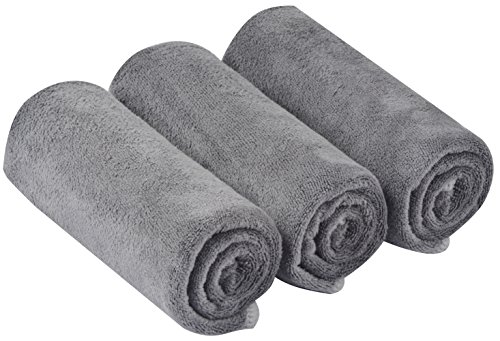 KinHwa Ultra Soft Microfiber Cleaning Car Drying Towel Large Absorbent Car Wash Towel Scratch Free Auto Detailing Towels Grey 3 Pack 16Inchx24Inch