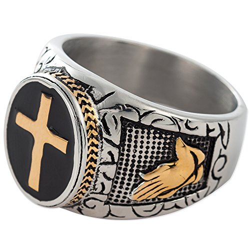 Jude Jewelers Christian Holy Cross Prayer Ring Stainless Steel Black Enamel Religious (13.5)
