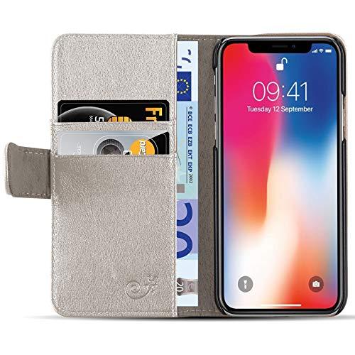 JammyLizarD Lederhülle für iPhone X/Xs   Ledertasche [ Classic Wallet Tasche Series ] Schimmer Leder Book Hülle Hülle Flip Cover Schutzhülle mit Kartenfach, Champagner