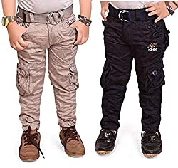 ADBUCKS Boys Cotton Cargo Pants (Pack of 2)