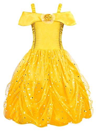 AmzBarley Disfraz de Princesa Belle Vestido de Fiesta Cosplay para niñas,Halloween (3-4 Años, Amarillo 04 con Accesorios)