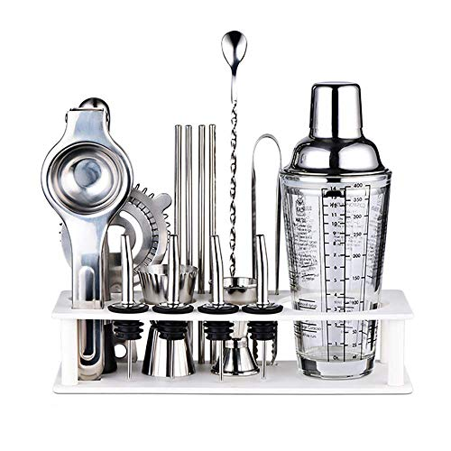 MIEMIE Kit de Fabrication de Cocktails Ensemble 17 pcs Shaker Tasse à mesurer Presse-Agrumes Filtre à Glace broyeur Bar vin Bouche Paille présentoir 14 oz Maison Bricolage