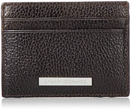 Armani Exchange Credit Card Holder - Portafogli Uomo, Marrone (Dark Brown), 7.6x1x10 cm (B x H T)