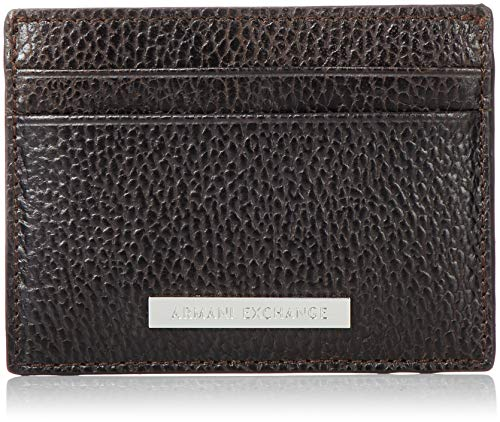 Armani Exchange Credit Card Holder - Portafogli Uomo, Marrone (Dark Brown), 7.6x1x10 cm (B x H T)