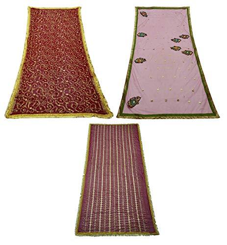 PEEGLI Las Mujeres Envuelven Lote De 3 Telas Mixtas Tradicionales Dupatta Tela Vintage India Multicolor Bordado Dupatta