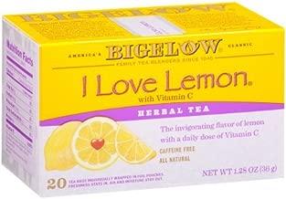 Bigelow I Love Lemon with Vitamin C Herbal Tea 1.28 oz. Box (20 tea bags)