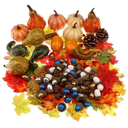Gresorth Künstlich Fälschung Kürbis Grün Weiß Gold Silber Eichel Simulation Herbst Ahornblatt Halloween Dekoration