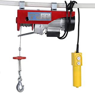 Lift Electric Hoist, 100/200kg Electric Cable Hoist Power Lifting Wire Hanging Crane Remote Control US Plug 110V