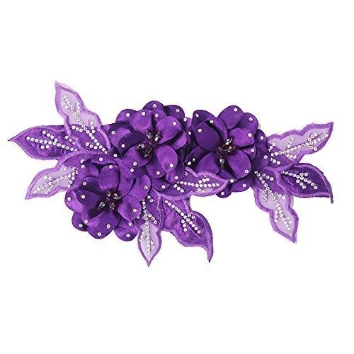 Accesorio de flores rojas de tela con encajes y lentejuelas brillantes, elemento decorativo para diademas de novia, para broches, para cintas de pelo morado