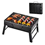 Stainless Steel Barbecue <span class='highlight'>Grill</span>, Portable Folding <span class='highlight'>Charcoal</span> Barbecue Desk Tabletop with Legs Outdoor <span class='highlight'>BBQ</span> Picnic Garden Terrace Camping Travel for Outdoor <span class='highlight'>Backyard</span> Cooking (Small (35*27*20 cm))