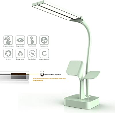 TIM-LI Lámparas De Escritorio LED De Doble Cabeza, Luz De Lectura Plegable De Carga USB Que Cuida Los Ojos, Brillo Ajustable 3 para Estudiar/Trabajar,Rosado