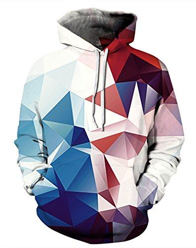 Leslady Unisex Herren Slim Fit 3D Druck Kapuzenpullover Kapuzen Sweatshirt Winter Hoodie Pullover(Large/X-Large, 5-Rosa Kristall)
