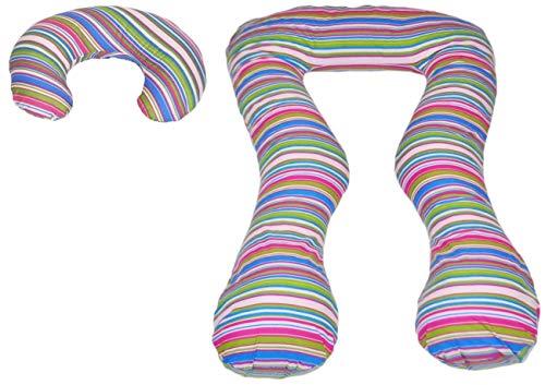 Velinda Conjunto Almohadas Cojines de Embarazo pre/Post-Natal Multiusos (PATRÓN: Tiras de Colores 1)