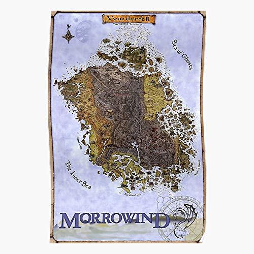fashionAAA Map Retro Gaming Vintage Scrolls Elder Morrowind Vvardenfell Restoration Das eindrucksvollste und stilvollste Poster für Innendekoration, das derzeit erhältlich ist