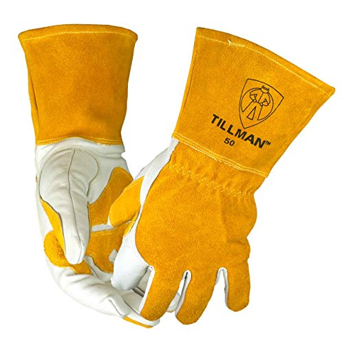 John Tillman and Co 50XL Top Grain Leather MIG Gloves with Split Leather Palm Reinforcements, Split Leather Back, Fleece Lining, Seamless Forefinger and Elastic Back (Carded), X-Large (TIL50XL)