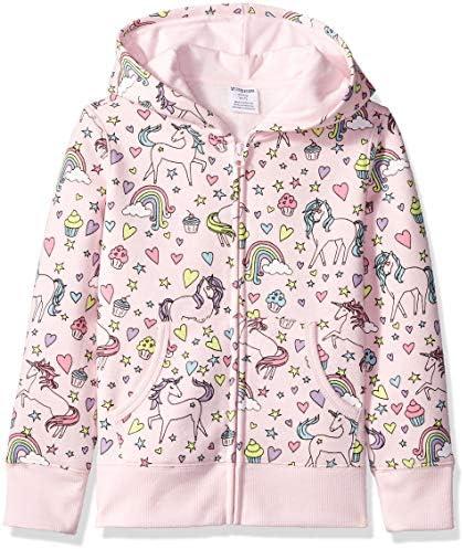 Spotted Zebra Girls Kids Fleece Zip Up Hoodie Sweatshirts Unicorn Small product image