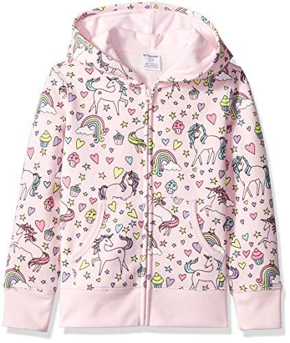 Spotted Zebra Girl's Fleece Zip-up Hoodie Sweatshirt, Unicorn, Small (6-7)