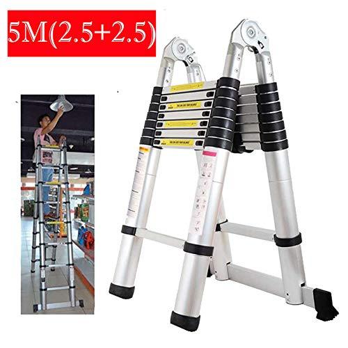 Multi Purpose 5M(2.5M+2.5M) Een Frame Ladder Telescopische Uitschuifbare Opvouwbare Draagbare Aluminium Trappen Ladder voor DIY Indoor Outdoor Huishoudelijke EN131 Standaard