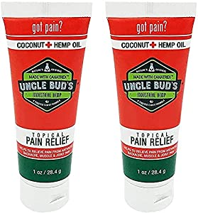 Hemp Cream 2 Pack Uncle Bud's Topical Pain Reliever Hemp Oil for Pain Reduction, Stress Support, Achy Muscle Relief, Fast Acting, Natural Anti Inflammatory, Sooth Arthritis, 2 (1oz)