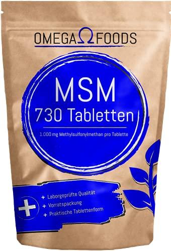 MSM Tabletten – Hochdosiertes MSM – 1000 mg pro Dosierung – 730 Tabletten – Vegane Tabletten