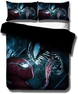 ZI TENG 3D Venom Movie Duvet Cover Kids Cartoon Venom Movie Bedding Set 100% Polyester Teenagers Adult Bed Set,3pcs 1 Duvet Cover 2 Pillowcase Twin Full Queen King