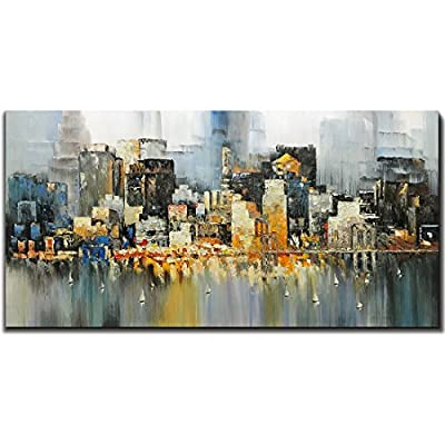 High Quality Metuu Modern Canvas Paintings, City Lights Up - Texture Palette Knife Paintings Modern Home Decor Wall Art Painting