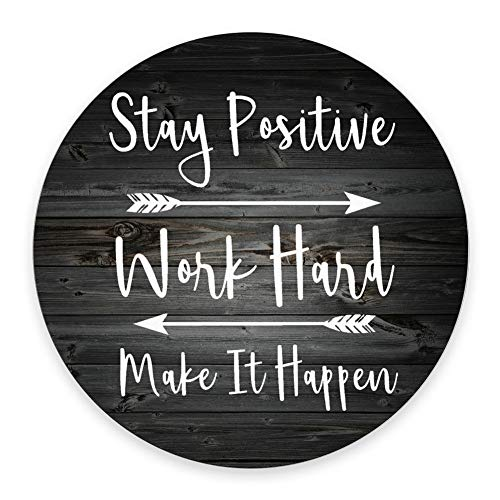 SSOIU Gaming Mouse Pad Custom, Stay Positive Work Hard and Make It Happen Inspirational Quotes Art Rustic Black Old Wood White Quote Round Mouse pad