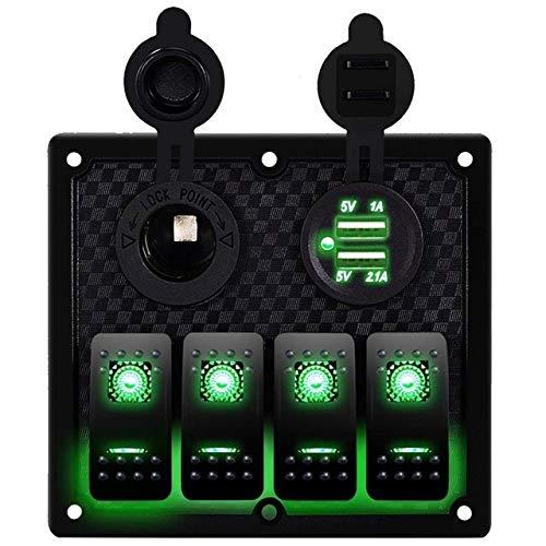 HKRSTSXJ 12V-24V 4 cuadrilla del Coche del Barco RV Circuito LED Toggle Interruptor oscilante del Panel del voltímetro del Interruptor con fusibles Doble USB Compatible with RV Coche del Barco
