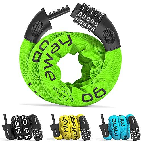 Candado Bicicleta con Código de Número y Cadena de Acero | Cerradura Seguridad Cable 5 dígitos combinacion amarre antirrobo | bici moto biciclo scooter fuerte largo adulto ninos valla puerta p