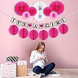"""Hivexagon Decoración Set para Celebrar Nacimiento de Niñas, """"It's A Girl"""" (Es niña) Banderola de Coloridos Abanicos de Papel, Bolas con Forma de Colmena y Borlas de Papel para Fiesta de Cumpleaños"""
