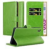 Cadorabo Hülle für Sony Xperia XA1 Plus - Hülle in Gras GRÜN – Handyhülle im Luxury Design mit Kartenfach & Standfunktion - Hülle Cover Schutzhülle Etui Tasche Book