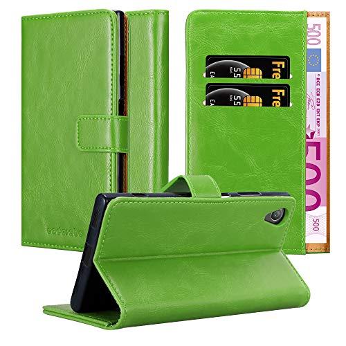 Cadorabo Hülle für Sony Xperia XA1 Plus in Gras GRÜN – Handyhülle mit Magnetverschluss, Standfunktion & Kartenfach – Hülle Cover Schutzhülle Etui Tasche Book Klapp Style