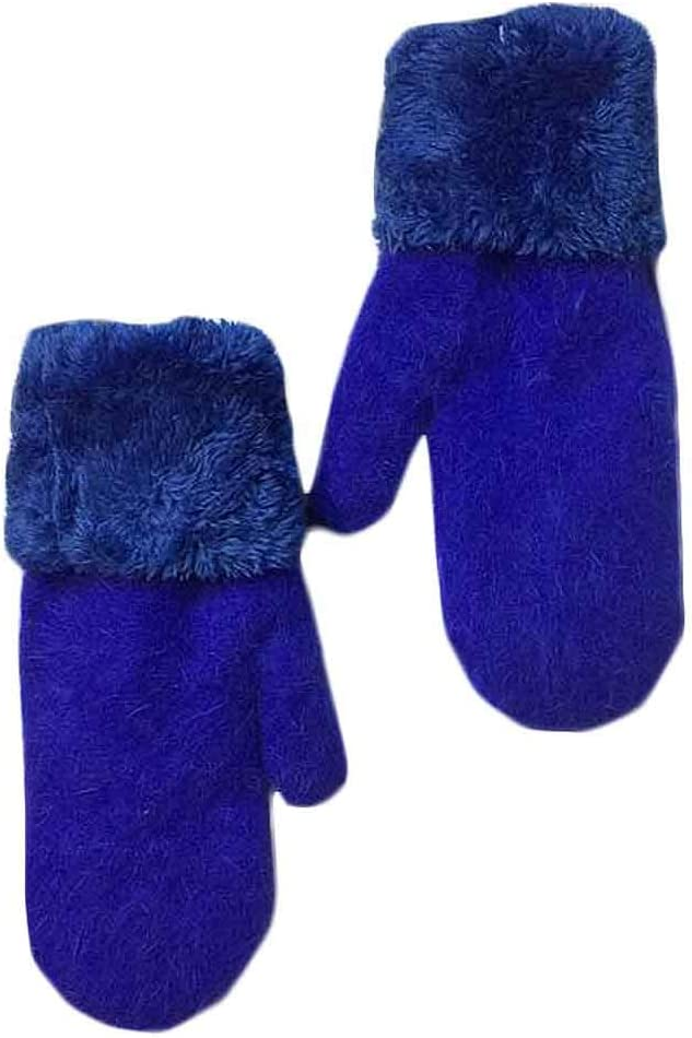 Panda Legends Winter Warm Gloves Women's Cozy Plush Lining Mittens Woolen Gloves Mittens,Royal Blue