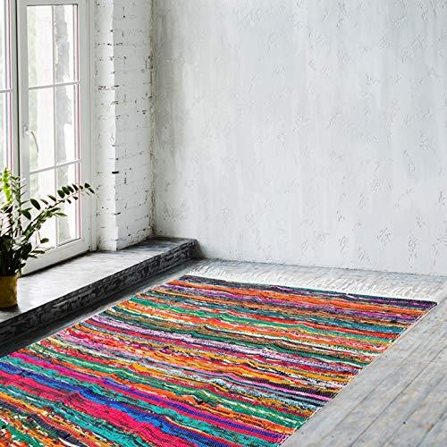 Naqsh Chindi - Alfombra hecha a mano de Chindi, tejido a mano, multicolor, de algodón reciclado, reversible, de Chindi
