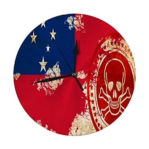 nobrand Reloj de pared redondo con la bandera de Samoa con algunos puntos destacados, suaves y pliegues decorativos para casa, oficina, escuela de 9,8 pulgadas