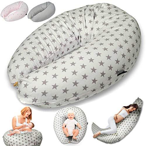 SMOOTHY Stillkissen Schwangerschaftskissen zum Schlafen, Erholen & Stillen Seitenschläferkissen Lagerungs-Kissen für Mutter und Baby mit hochwertiger EPS-Perlen Füllung (Beige)