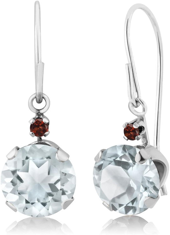 1.54 Ct Round Sky bluee Aquamarine Red Garnet 14K White gold Earrings
