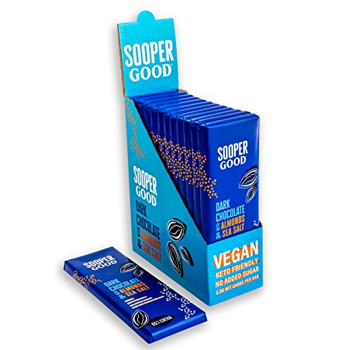 Sugar Free and Vegan Dark Chocolate Bars by Soopergood – Keto Friendly - Low Carb - Gluten Free - 65% Cacao with Almonds & Sea Salt – Sweetened with Stevia – Box of 12 x 40g