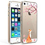 Ftonglogy Compatible with iPhone 5/5S SE 2016 Phone Case Girls Clear Air Buffer TPU Bumper + PC Shockproof Slim Women Floral Flower Pattern Protective Cover for iPhone 5/5S SE2016 (Fox)