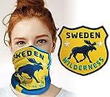 Club of Heroes Schweden Set / 1 Aufnäher + 1 Bandana/Aufbügler Sticker Patch gestickt/Multifunktionstuch Schlauchtuch Halstuch Mundschutz/Elch schwedisch Flagge Fahne