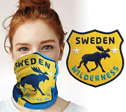 Club of Heroes Schweden Set Set / 1 Patch + 1 Multifunktionstuch/Aufnäher Aufbügler Sticker gestickt/Schlauchtuch Bandana Halstuch Mundschutz/Elch schwedisch Flagge Fahne