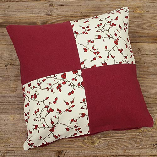 matches21 Cushion Cover Home Textiles Country House Premium Kathi Patchwork Rose Hips & Plain Dark Red 40 x 40 cm - 1 Piece