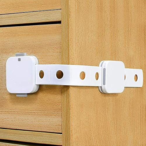 SYOSIN Child Safety Cabinet Locks (6 Pack) - Adjustable Baby Proofing Fridge Locks Upgraded Unlocking Design for Cabinets, Fridge, Drawers, No Tool Needed with Super Strong Acrylic Adhesive