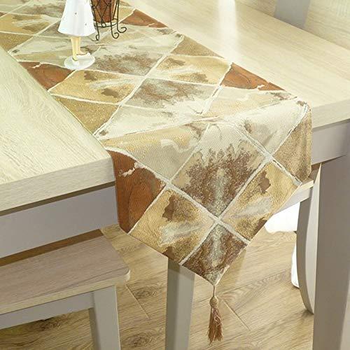 Salontafel, decoratieve salontafel met kwast, tafelkleed met kwast, tv-meubel, voor bruiloft, party, banket ++ 32x240cm Lichtbruin.