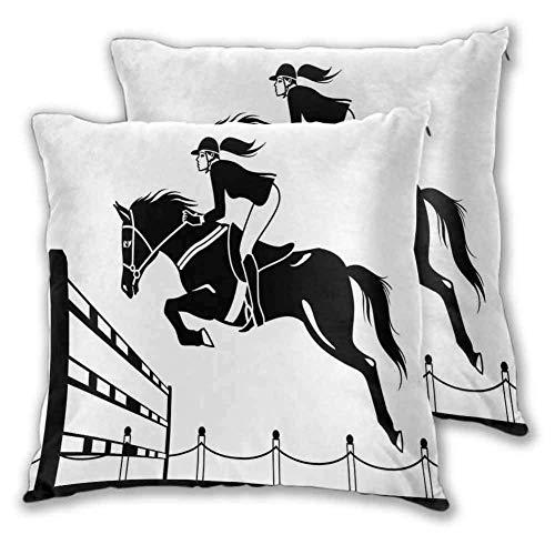 Funda de almohada de dibujos animados Caballo de carreras de poliéster con una chica jockey que salta por encima de la barrera Granero Imagen de agricultura Impresión de la decoración de la ha