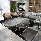 qijidzswyxgs Tapis antidérapant intérieur Tapis Graphique irrégulier de Or Gris Noir Rugs Moderne pour Le Salon Chambre 160x230CM