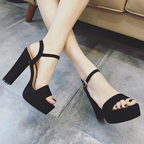 KHSKX-Summer Talon Bien Sandale Femme Imperméable Bureau Boucle Les Sandales Chaussures Sexy